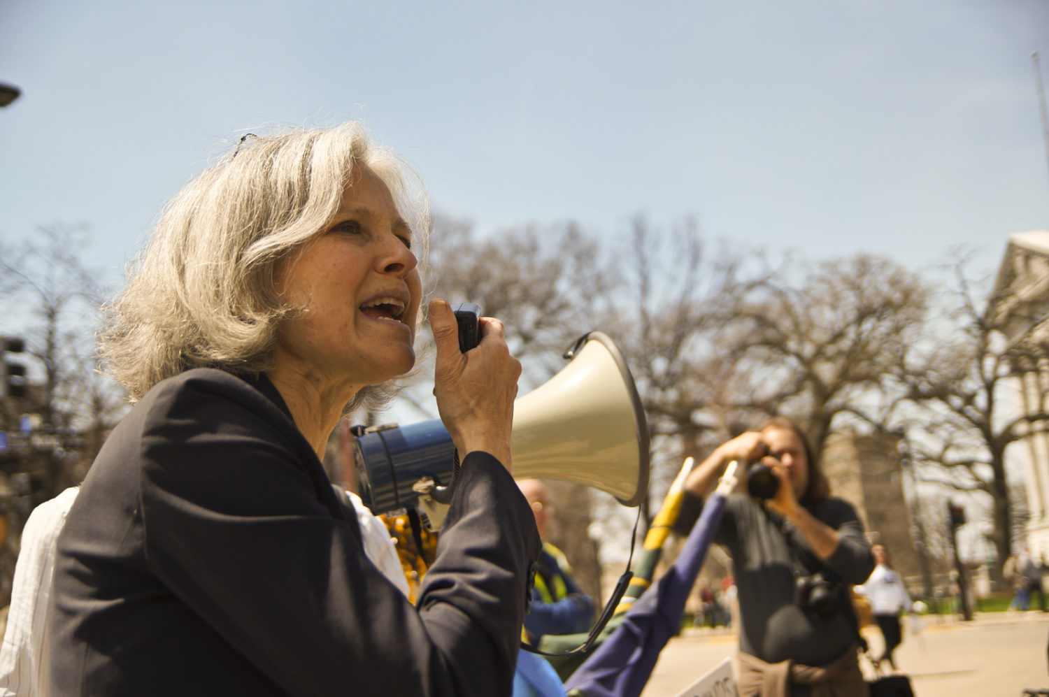 Green Party candidate Jill Stein addressing the march. Image by Flickr user Joe Brusky